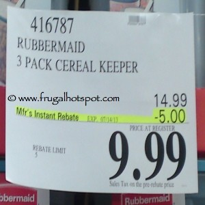 Rubbermaid 3 Pack Cereal Keeper Costco Price
