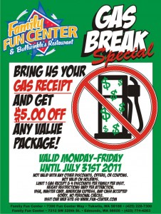 Gas Price Break - 2011 at Family Fun Center Seattle