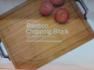 MangoLeaf Bamboo Chopping Block with Stainless Steel Handles