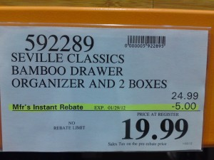 Seville Classic Bamboo Drawer Organizer Price at Costco