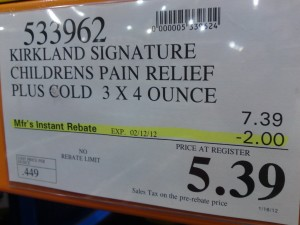 Kirkland Signature Children's Pain Relief Plus Multi-Symptom Cold Price at Costco $5.39 for a limited time