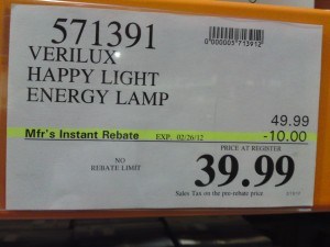 Verilux Happy Light Price at Costco $39.99 for a limited time
