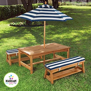 Costco.com Deal: KidKraft Kids Outdoor Pinic Set- Table with 2 Cushioned  Benches and Umbrella $139.99