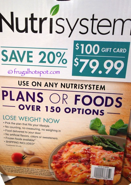 $100 Nutrisystem Gift Card Costco | Frugal Hotspot