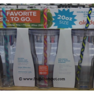 Aladdin 3 Pack of 20 Ounce To Go Cups (with 6 reusable straws) at Costco