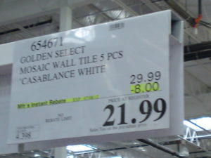 Costco Price Golden Select Casablanca Marble, Glass and Stone Mosaic Wall Tile 5 Piece