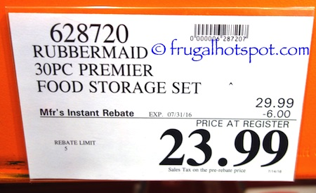 Rubbermaid 30 Piece Premier Food Storage Costco Price | Frugal Hotspot