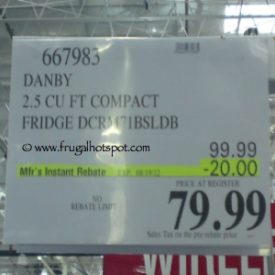 Danby 2.1 Cu Ft Compact Fridge (DCRM71BSLDB) Costco Price