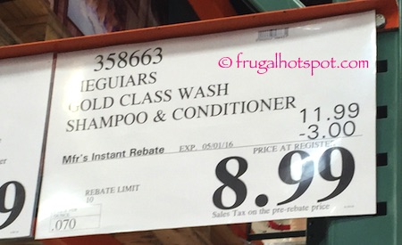 Meguiar's Gold Class Car Wash Shampoo & Conditioner 1 Gallon Costco Price | Frugal Hotspot