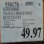 Hansgrohe Talis E Single Hole bath Faucet Costco Price