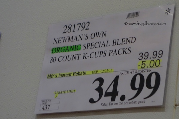 Newman's Own Organic Special Blend 80 Count K-Cups for Keurig Costco Price