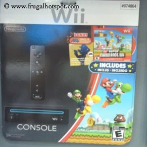 Nintendo Black Wii Console With New Super Mario Brothers Game and Music CD Costco