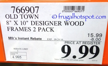 Old Town 8x10 Solid Wood Frames 2 Pack Costco Price | Frugal Hotspot