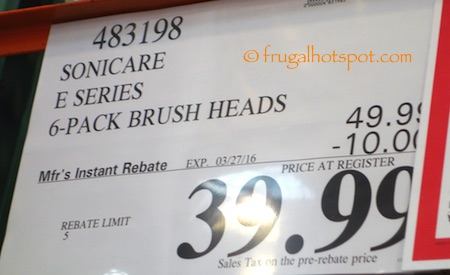 Philips Sonicare Replacement Brush Heads 6-Pack Costco PRice | Frugal Hotspot