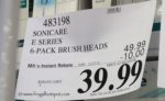 Costco Sale Price: Philips Sonicare Replacement Brush Heads 6-Pack E-Series