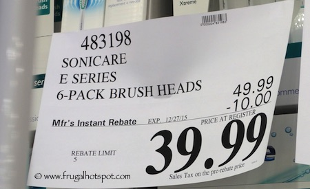 Philips Sonicare Replacement Brush Heads 6-Pack E Series Costco Price
