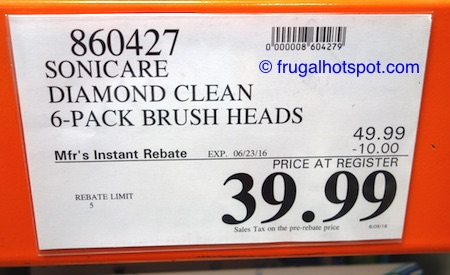 Philips Sonicare Replacement Brush Heads 6-Pack DiamondClean Costco Price | Frugal Hotspot