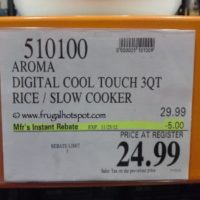 Aroma Digital Cool Touch 3 Quart Rice Cooker. Costco Price