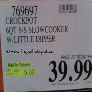 CrockPot 6 Quart Slowcooker with Little Dipper Costco Price