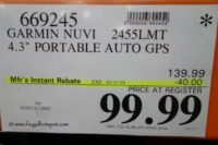 "Garmin Nuvi 2455LMT 4.3"" Portable Auto GPS Costco Price"