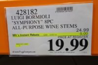 Luigi Bormioli Symphony 8-Piece Break-Resistant All-Purpose Wine Stems. Costco Price