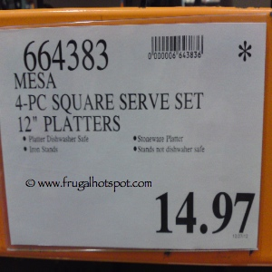 "Mesa 4 Piece Square Serve Set 12"" Platters Costco Price"
