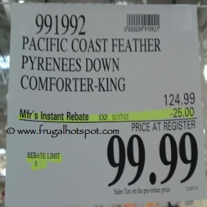 Pacific Coast Feather Pyreness Down Comforter King Costco Price