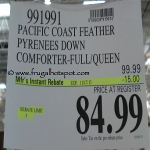 Pacific Coast Feather Pyreness Down Comforter Full/Queen Costco Price