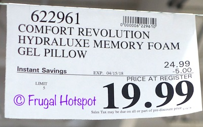 Memory Foam & Hydraluxe Cooling Bed Pillow by Comfort Revolution  Costco Sale PRice