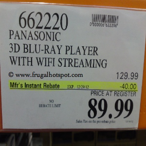 Panasonic 3D BluRay DMP-BDT220CP Costco Price