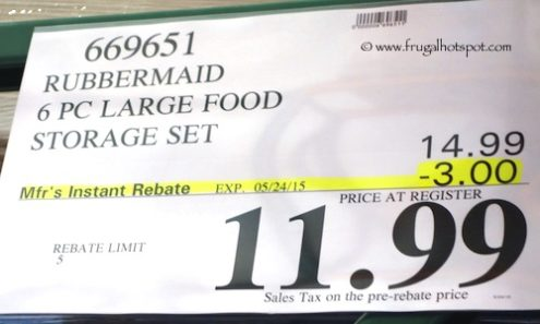 Costco Sale Price: Rubbermaid 6 Piece Easy Find Lids Food Storage Containers