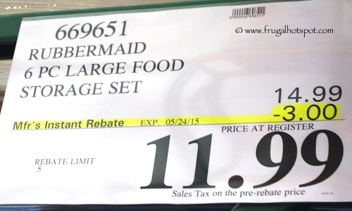 Rubbermaid 6 Piece Large Food Storage Set Costco Price