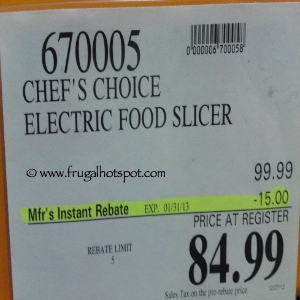 Chef's Choice Electric Food Slicer | Costco Sale Price