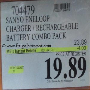 Sanyo Eneloop Charger Rechargeable Battery Combo | Costco Sale Price