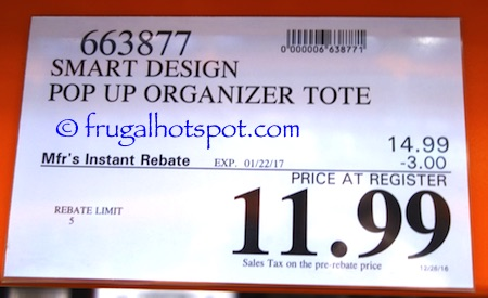 Smart Design Pop Up Organizer Tote Costco Price Frugal Hotspot