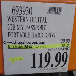 Western Digital 2TB My Passport Portable Hard Drive Costco Price