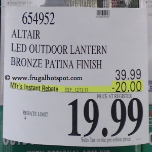 EnviroLite LED Outdoor Bronze Patina Lantern Costco Price