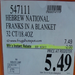 Hebrew National Beef Franks in a Blanket Costco Price