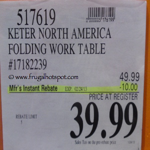 Keter Folding Work Table | Costco Sale Price