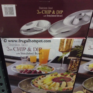 Stainless Steel 3 Piece Chip & Dip with Insulated Bowl Serving Set