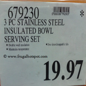 Stainless Steel 3 Piece Chip & Dip with Insulated Bowl Serving Set Costco Price