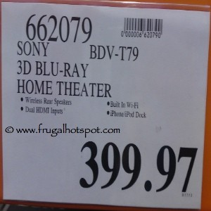 Sony 3D BluRay Home Theatre BDVT79 Costco Price