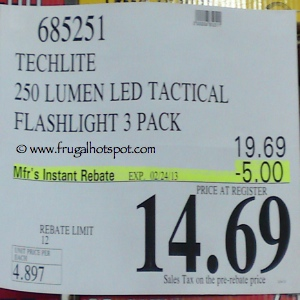 Techlite 250 Lumens LED Tactical Flashlight 3-Pack Costco Price