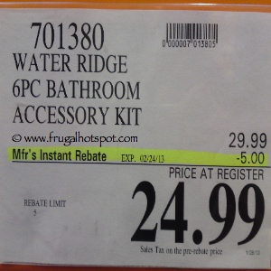 WaterRidge Bathroom 6-Piece Accessory Kit Costco Price