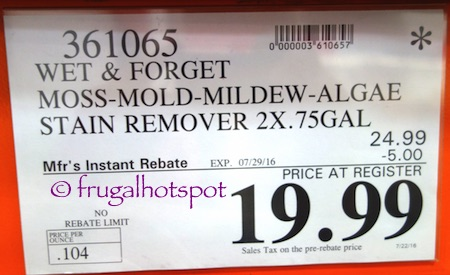 Wet & Forget Moss Mold Mildew & Algae Stain Remover (2/0.75 Gallons Concentrate) Costco Price | Frugal Hotspot