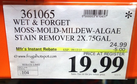 Wet & Forget Moss Mold Mildew & Algae Stain Remover (2/0.75 Gallons Concentrate) Costco Price