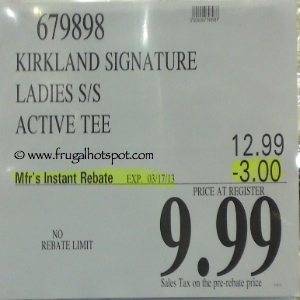 Kirkland Signature Ladies Short Sleeve Active Tee Costco Price