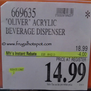 Oliver Acrylic Beverage Dispenser Costco Price
