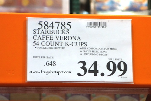 Starbucks Caffe Verona Dark K-Cups Costco Price