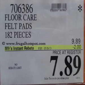 Floor-Care Felt Pads 182 Pieces Costco Price